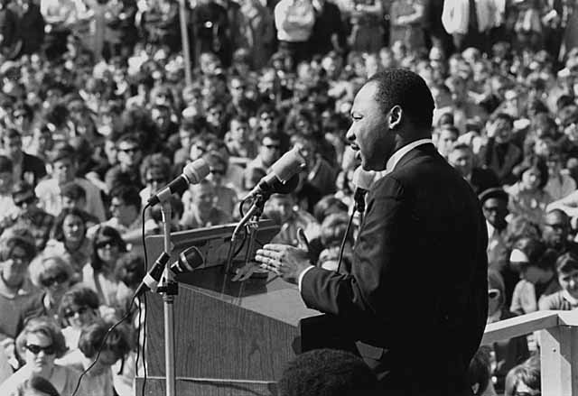 Martin Luther King speaking at a rally, 1967