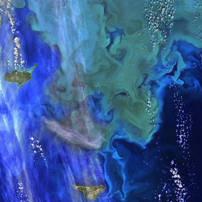 Satellite map of the Bering Sea