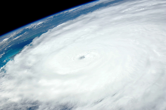 Image of a hurricane from satellite
