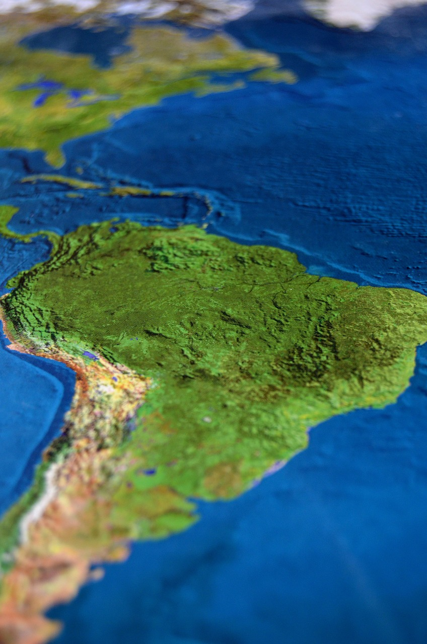 Topographic map of Latin America