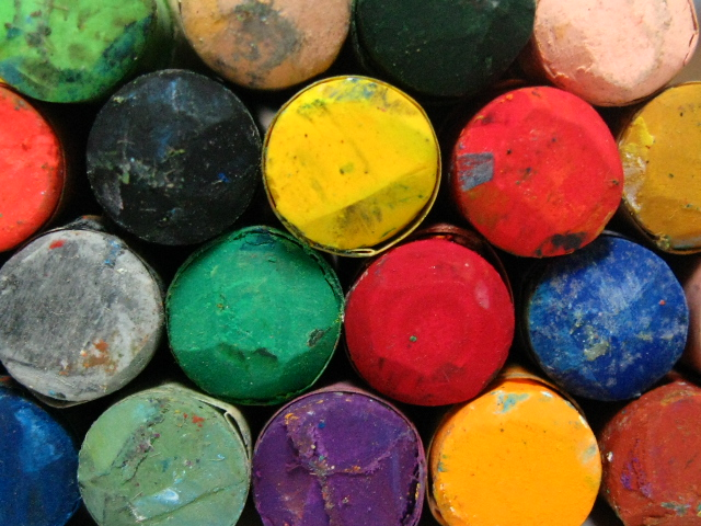 A collection of different color chalks