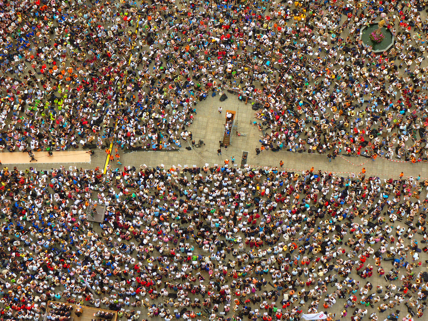 Overhead image of a protest